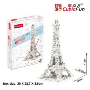 Eiffel torony 3D puzzle CubicFun Színező