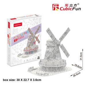 Holland szélmalom 3D puzzle CubicFun Színező